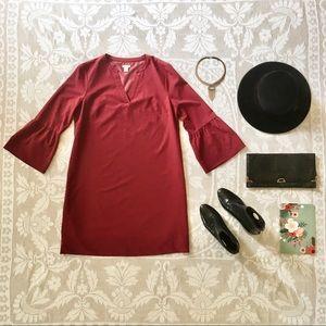 J. Crew Factory burgundy bell sleeve dress size 6